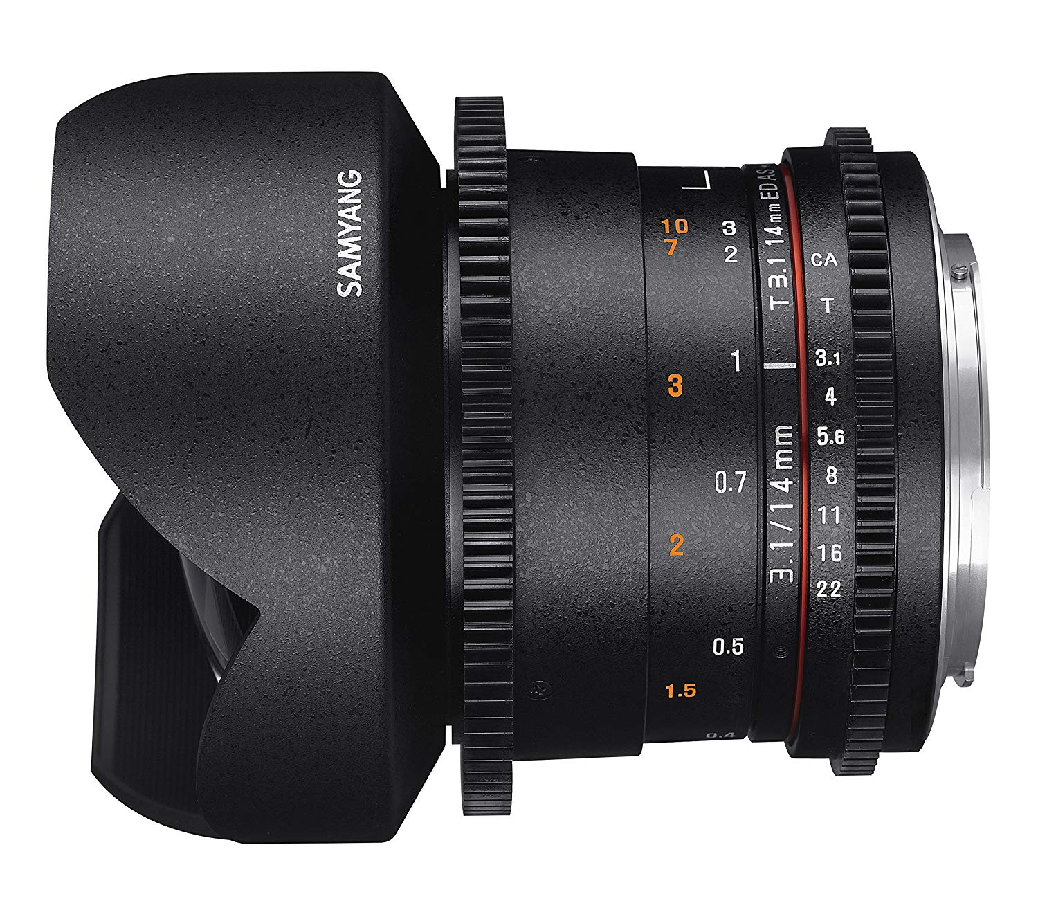 -Samyang Obiettivo V-DSLR 14mm T/3,1 ED AS IF UMC II per Canon
